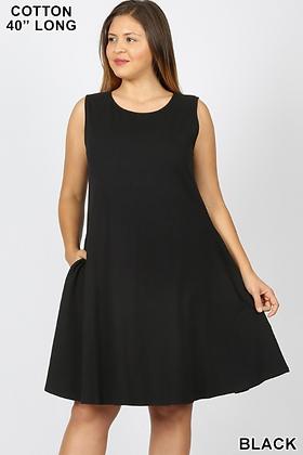 Black Plus Pocket Dress