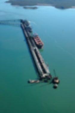 Aerial view of a wharf in the Gladstone Harbour