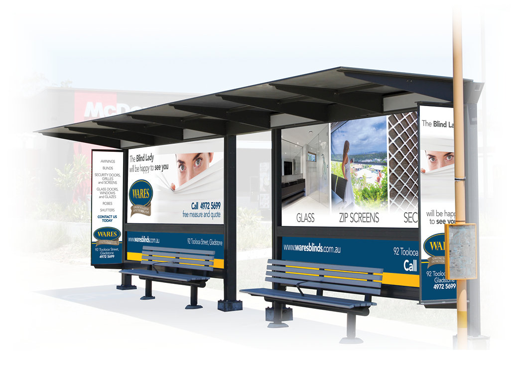 This is Wares bus shelter wrap which was designed by Cooper McKenzie Marketing through our Sheltermark brand