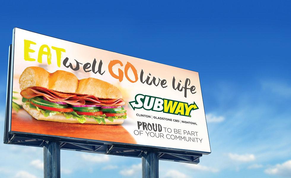 Billboard image to show signage design by Cooper McKenzie Marketing for Subway Gladstone