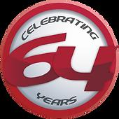Celebrating 64 years logo was designed by Cooper Mckenzie Marketing.