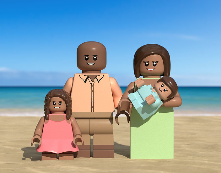 Beach themed custom portrait featuring you and your family/friends!