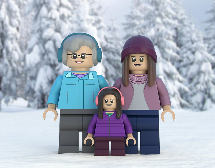 Snowy winter themed custom portrait featuring you and your family/friends!