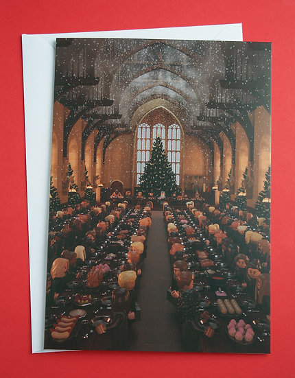 Hogwarts Great Hall feast inspired Christmas card