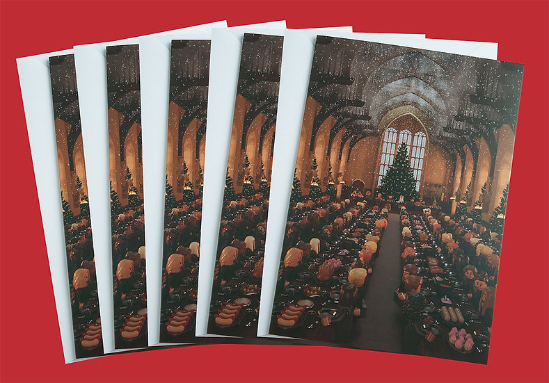Pack of 5 Hogwarts Great Hall feast inspired Christmas cards