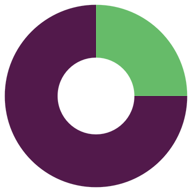 Doughnut graph with 75% purple and 25% green.