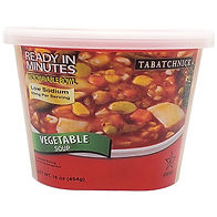 Container of refrigerated fresh vegetable soup