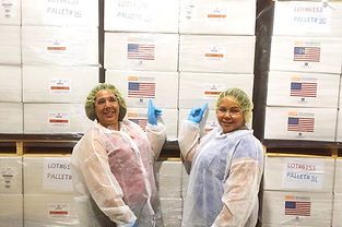 Factory workers in warehouse