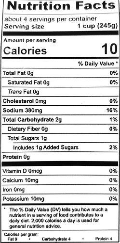 organic chicken broth - nutritional labe