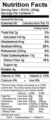 Benje's Naturals Vegetable Soup nutritional info