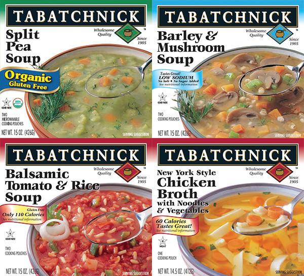 4 quadrant photo of healthy tabatchnick soups