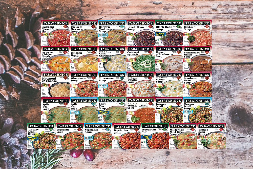 31 images of Tabatchnick soup boxes arranged in rows on top of a wooden background