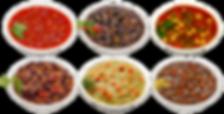 Six Prepared Tabatchnick soups including split pea, vegetable, lentil, tomato basil, vegetarian chili, and black bean flavors