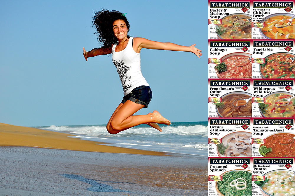 10 Tabatchnick 100 calorie soup boxes on top of image of woman jumping on beach