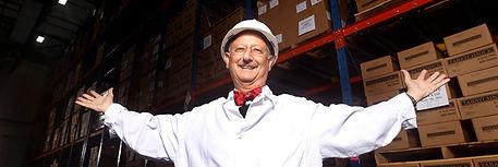 Ben Tabatchnick in the warehouse