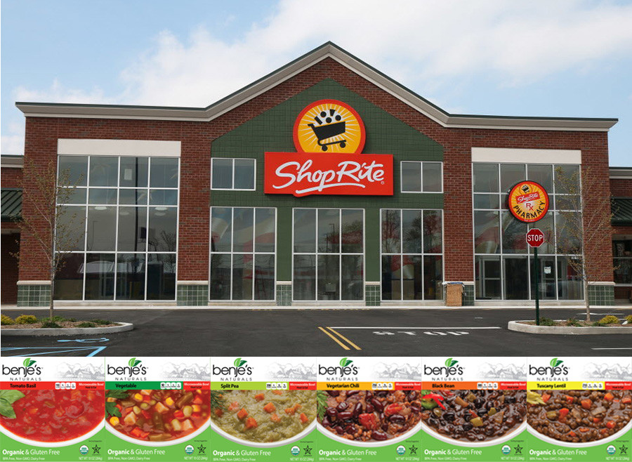 benje's Naturals soup boxes lining photo of shoprite grocery store