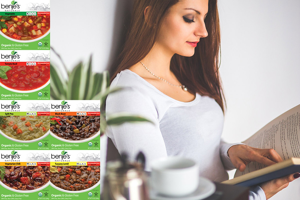 Six Benje's Naturals soup box images ontop of image of woman reading