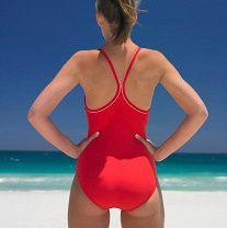 woman wearing bathing suit on the beach
