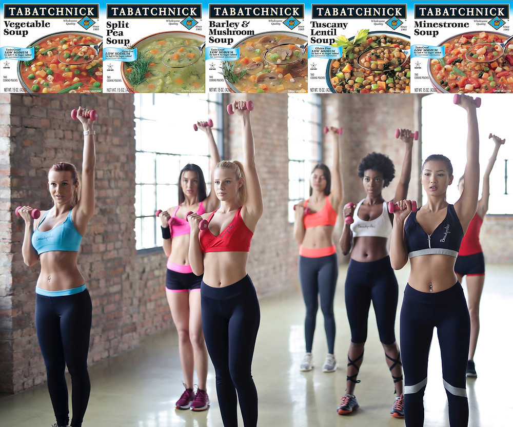 Five low sodium soup boxes ontop of image of women exercising.