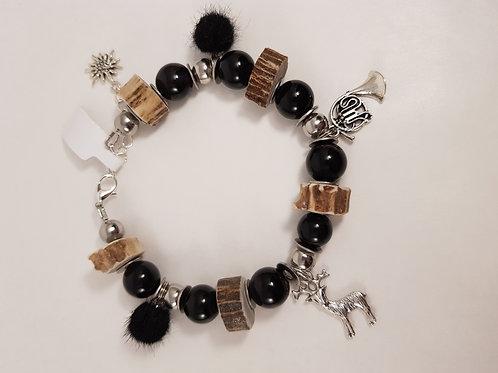 BLACK Obsidian Armband mit Anhänger
