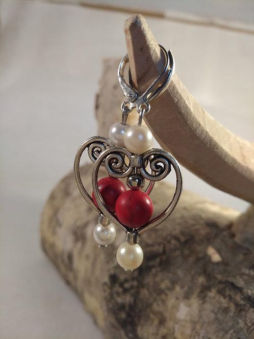 Herz Ohrhänger mit Perlen