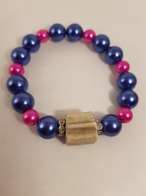 Blau Rosa Trachtenarmband