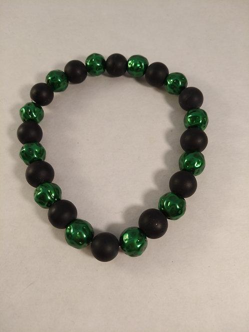 WALD Armband mit grünen und schwarzen Perlen