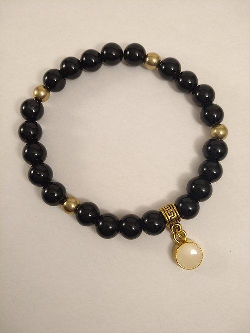 BLACK Achatperlen Armband