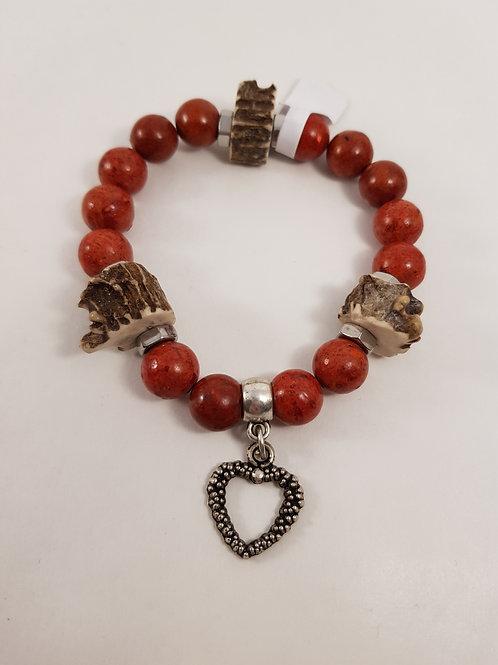 Herz rotes Trachtenarmband mit Rehgehörn