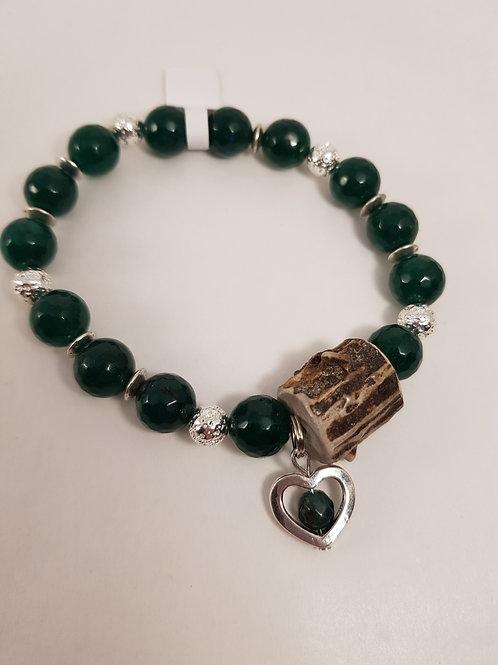 GREEN Achatperlenarmband mit Herz