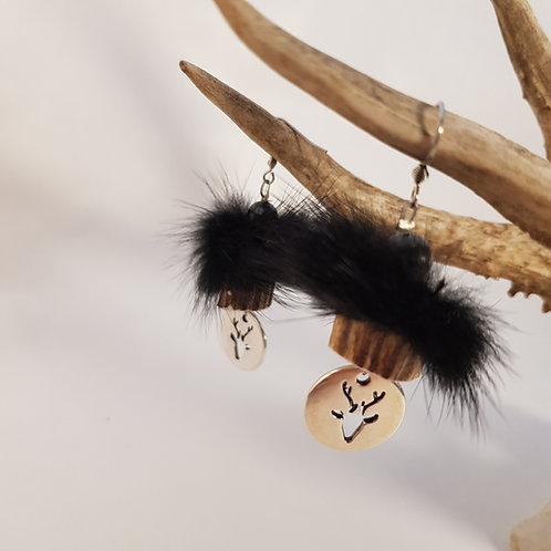 Ohrhänger Pelz schwarz