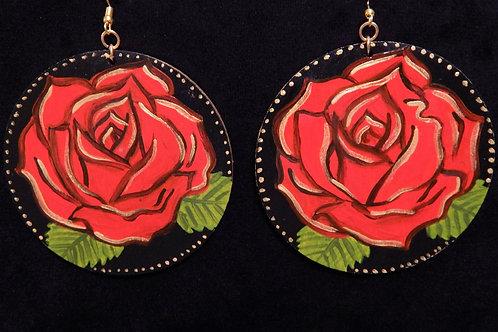 Hand Painted Rose Earrings