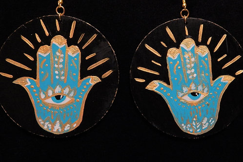 Hand Painted Hamsa Earrings