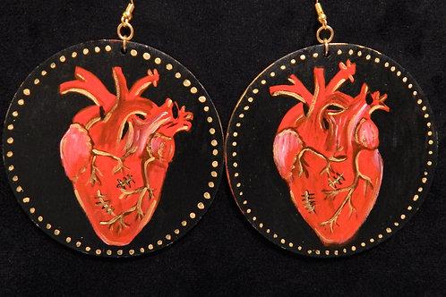 Hand Painted Heart Earrings
