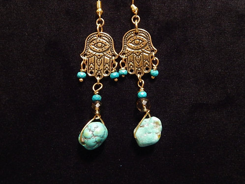 Hamsa Gemstone Earrings