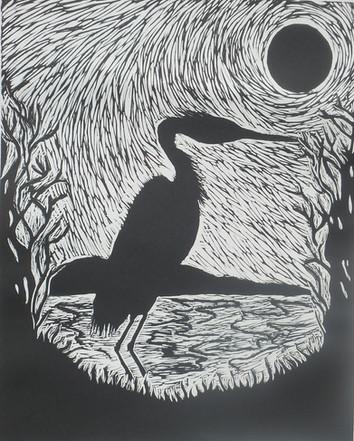 Midnight Heron Print