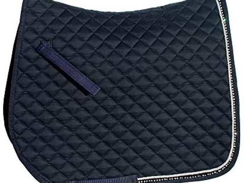 Personalised embroidered Navy Diamanté saddle pad