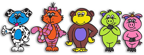 Animal characters for fine motor activities
