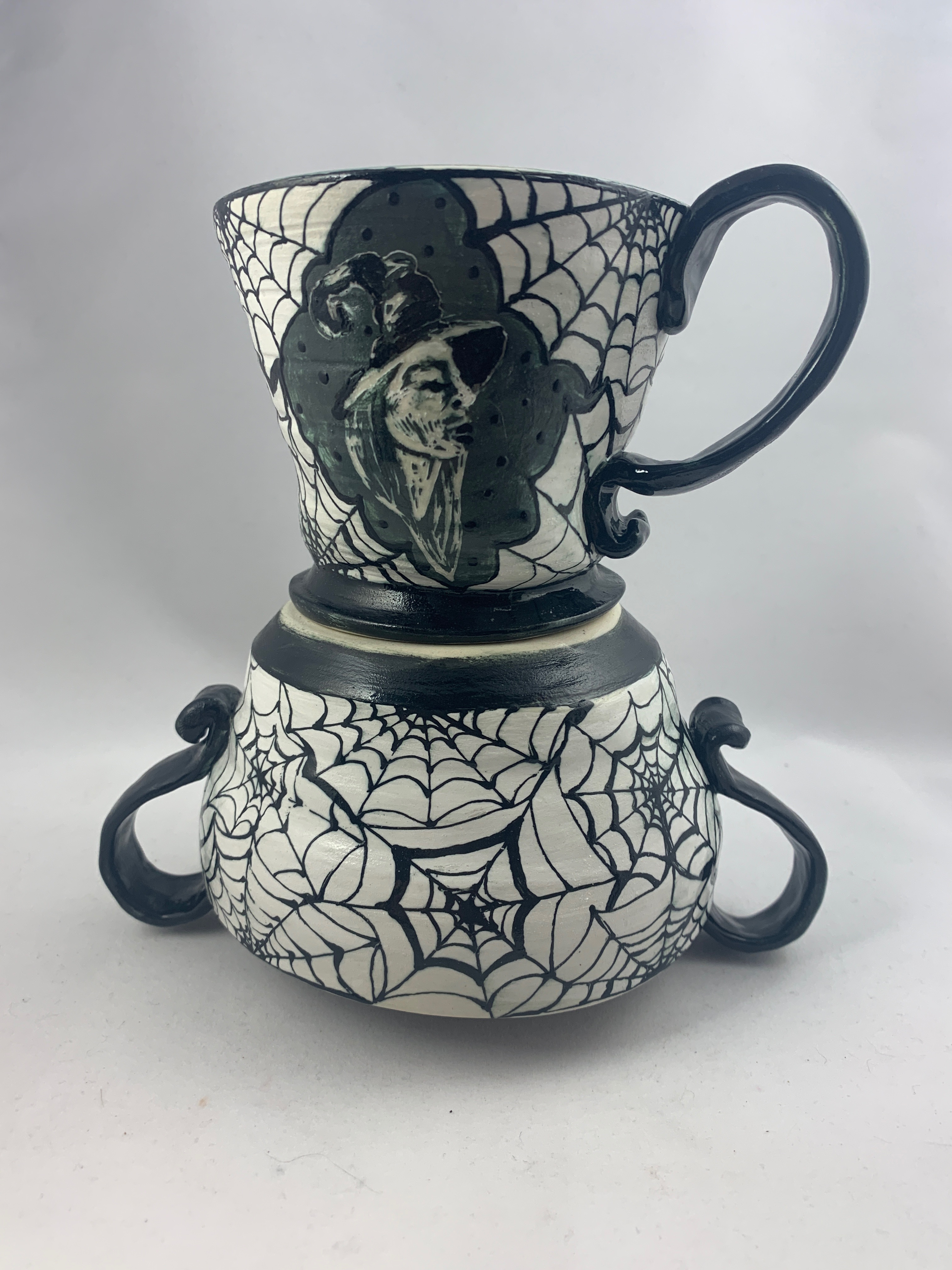 Witches Brew Mug and Spiderweb Vessel