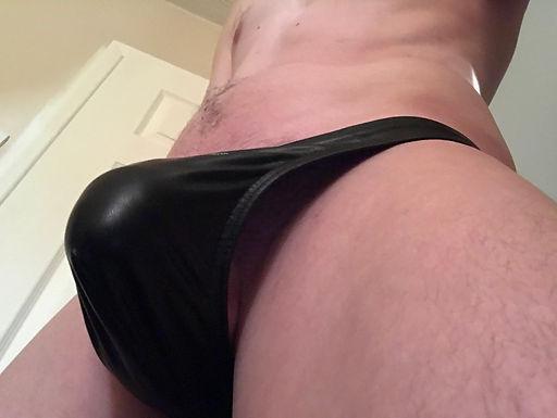 Men's black thong