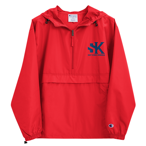 Shot Kings Cornhole Royal Blue SK - Red Embroidered Champion Packable Jacket