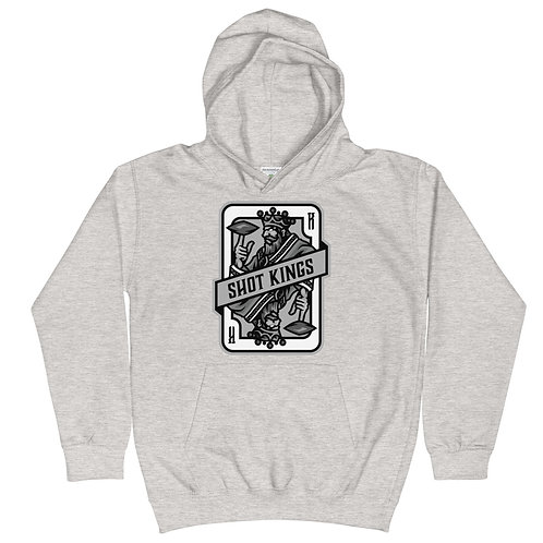Shot Kings Cornhole Grey Card - Heather Grey Kids Hoodie