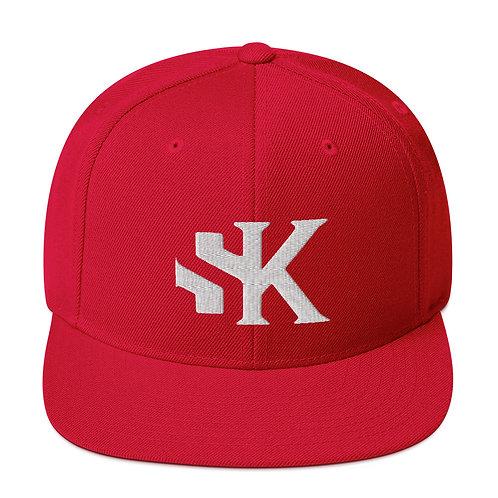 Shot Kings Cornhole White SK Logo - Red Snapback Hat