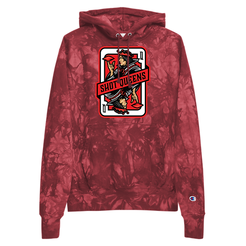 Shot Queens Cornhole Card 2.0 - Unisex Champion tie-dye hoodie