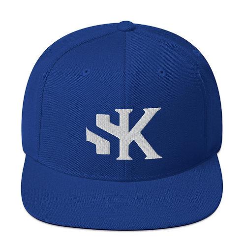 Shot Kings Cornhole White SK Logo - Royal Blue Snapback Hat