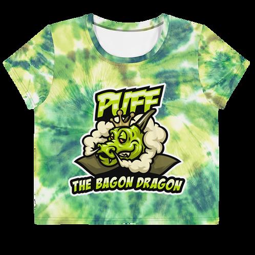 Puff the Bagon Dragon Green Tye Dye - All-Over Print Crop Tee