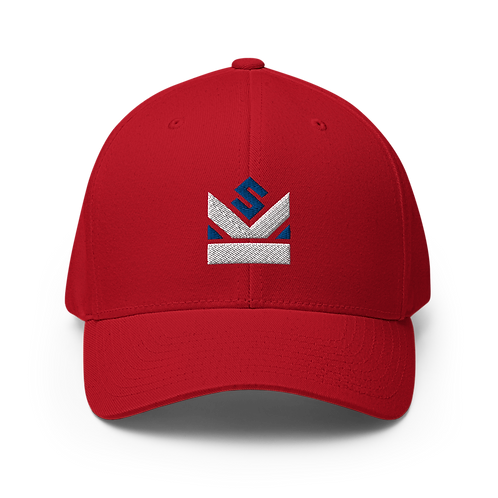 Shot Kings Cornhole Blue and White Crown Logo - Red Structured Twill Cap