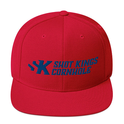 Shot Kings Cornhole Royal Blue Logo - Red Snapback Hat