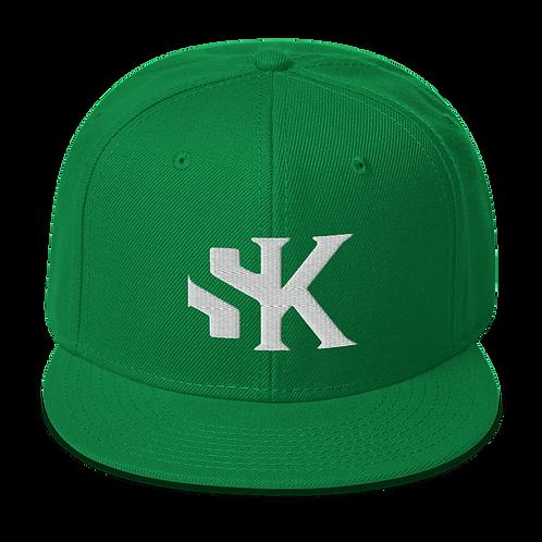 Shot Kings White SK Logo - Kelly Green Snapback Hat