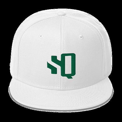 Shot Queens Kelly Green SQ Logo - White Snapback Hat